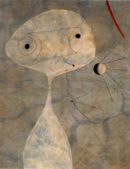 Hombre con pipa, Oil by Joan Miro (1893-1937, Spain)