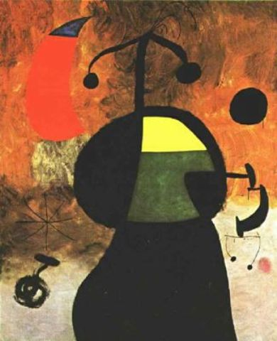 Mujer ante un eclipse, Oil by Joan Miro (1893-1983, Spain)