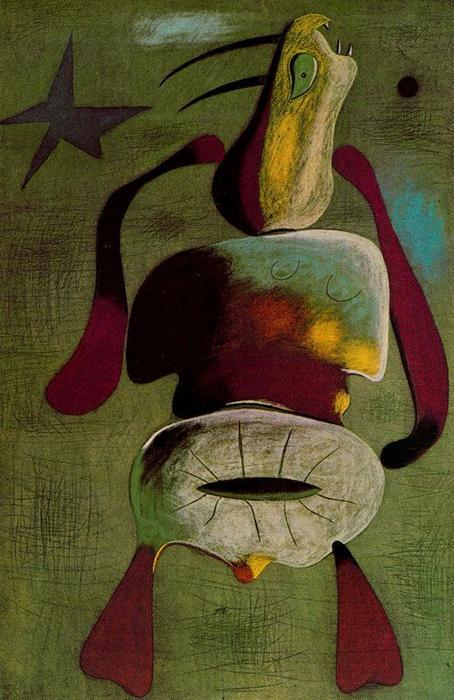 Mujer, Oil by Joan Miro (1893-1983, Spain)
