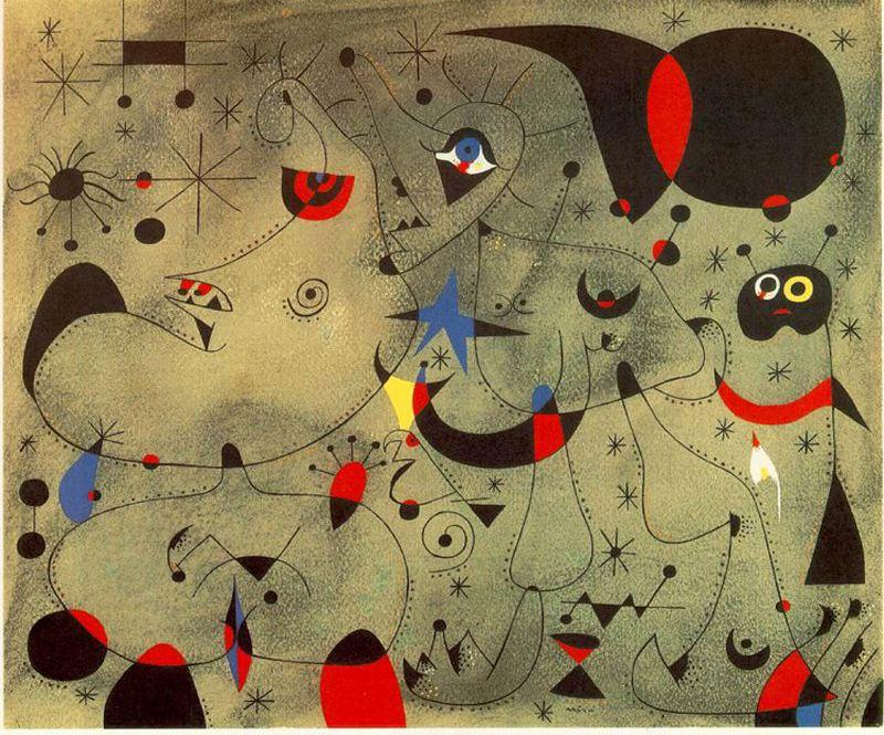 Nocturno, Oil by Joan Miro (1893-1937, Spain)