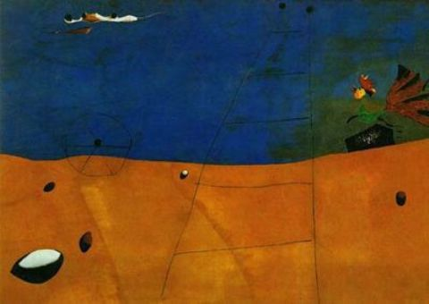 Paisaje con gallo, Oil by Joan Miro (1893-1937, Spain)