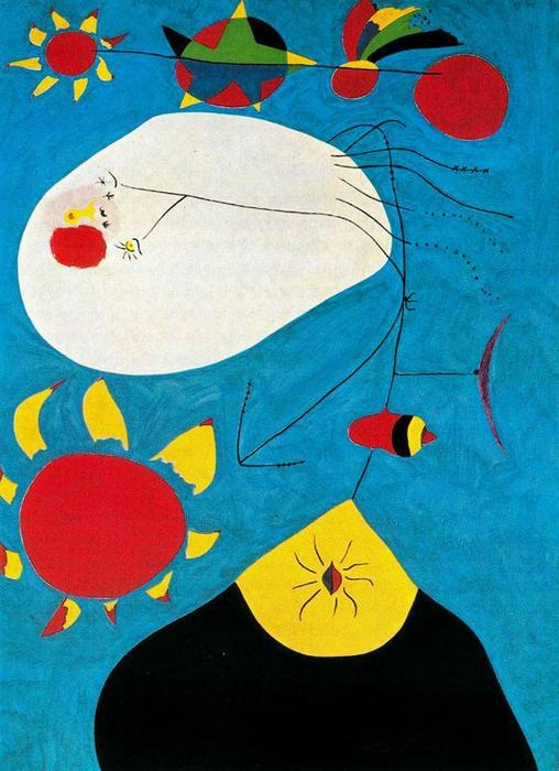 Retrato IV, Oil by Joan Miro (1893-1983, Spain)