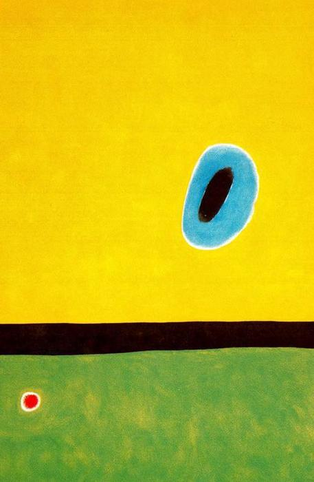 The Lark´s Wing, Encircled With Gold Blue, Oil by Joan Miro (1893-1983, Spain)