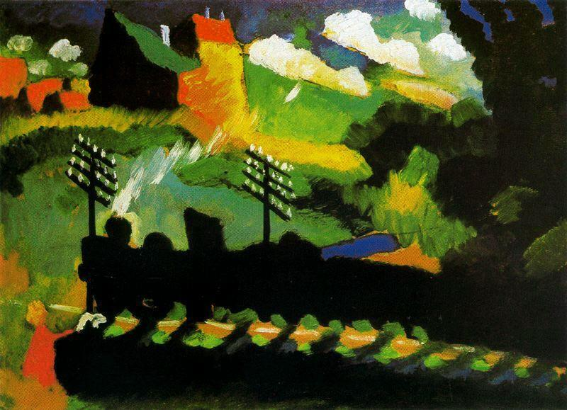 View of Murnau with train and castel, 1909 by Wassily Kandinsky (1866-1944, Russia) | Paintings Reproductions Wassily Kandinsky | ArtsDot.com