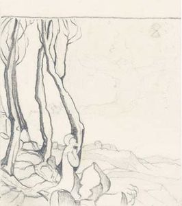 Nicholas Roerich - Sketch with praying figure
