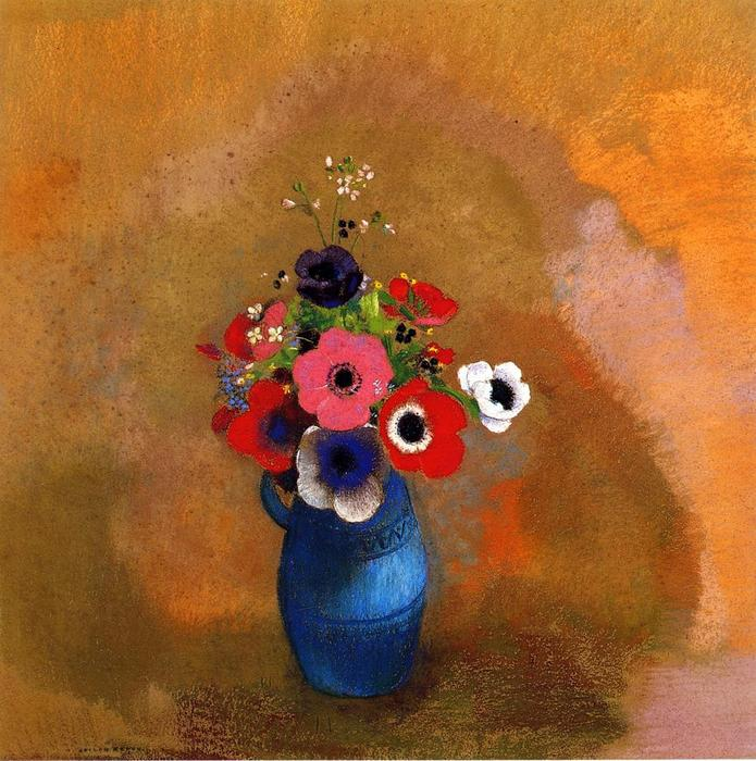 Order Art Reproductions | Anemonies In A Blue Vase by Odilon Redon (1840-1916, France) | ArtsDot.com