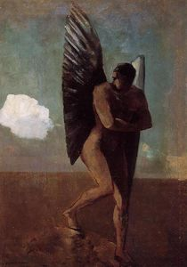 Odilon Redon - Fallen Angel Looking at at Cloud