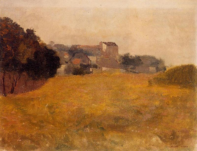 Small Village in the Medoc by Odilon Redon (1840-1916, France) | Museum Art Reproductions | ArtsDot.com
