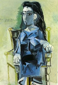 Pablo Picasso - Jacqueline sitting with her cat