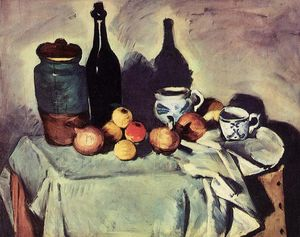 Paul Cezanne - Still Life - Post, Bottle, Cup and Fruit
