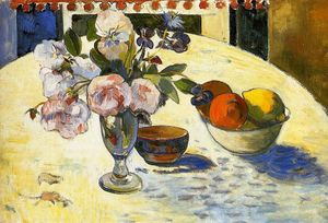 Paul Gauguin - Flowers in a fruit bowl