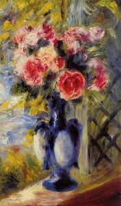 Pierre-Auguste Renoir - Bouquet of Roses in a Blue Vase