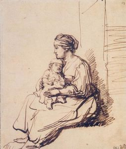 Rembrandt Van Rijn - A Woman with a Little Child on her Lap
