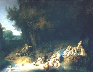Rembrandt Van Rijn - Diana Bathing, with the Stories of Actaeon and Callisto