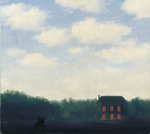 Landscape with rider, Oil by Rene Magritte (1898-1967, Belgium)