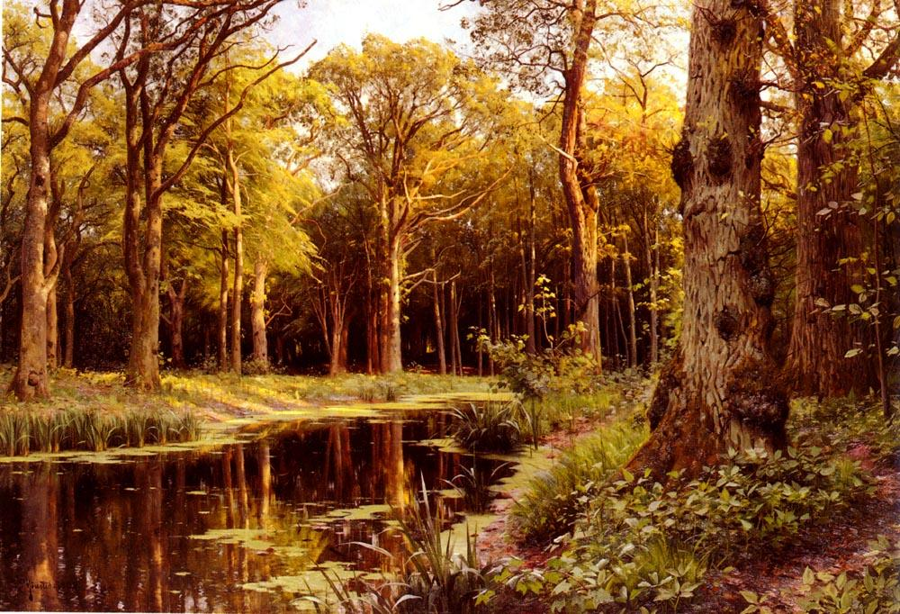 A Forest Stream, Oil by Peder Mork Monsted (1859-1941, Denmark)