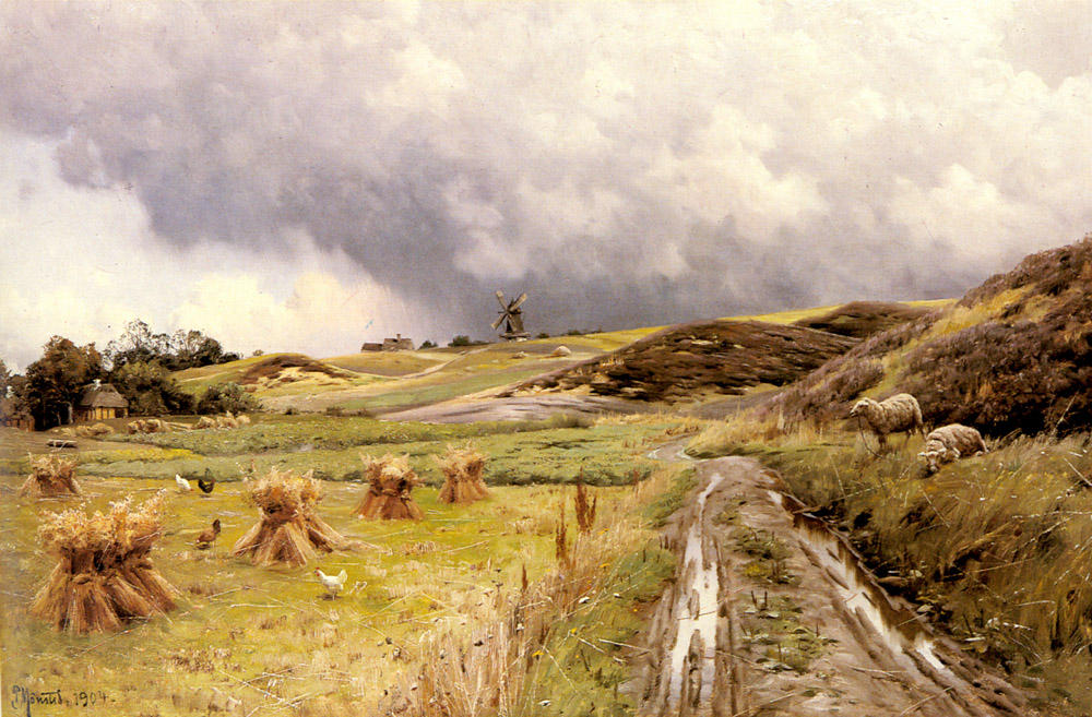 A Pastoral Landscape after a Storm, Oil by Peder Mork Monsted (1859-1941, Denmark)