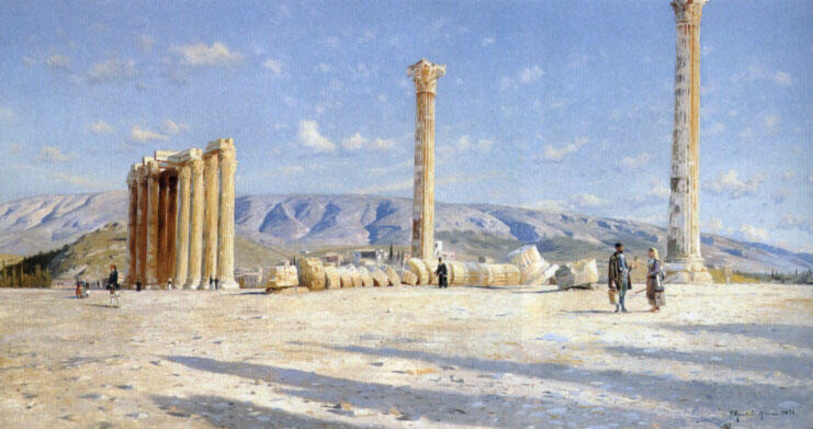 Athenian Ruins by Peder Mork Monsted (1859-1941, Denmark) | Museum Art Reproductions | ArtsDot.com