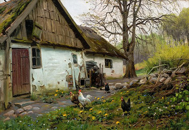 Bromolle Farm with Chickens by Peder Mork Monsted (1859-1941, Denmark) | Art Reproduction | ArtsDot.com