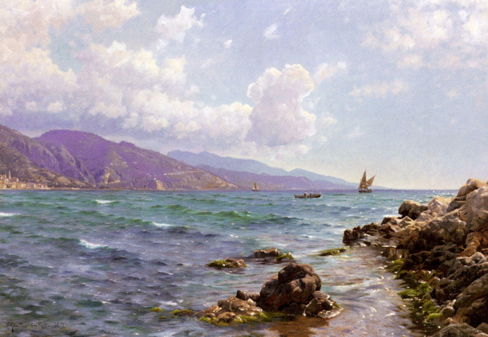Fishing Boats on the Water, Cap Martin, Oil by Peder Mork Monsted (1859-1941, Denmark)