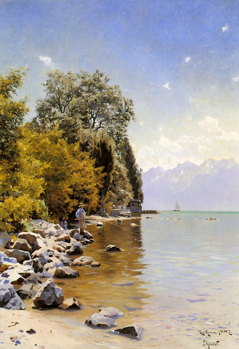 Fishing on Lac Leman by Peder Mork Monsted (1859-1941, Denmark) | Museum Quality Copies Peder Mork Monsted | ArtsDot.com