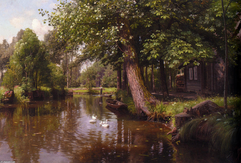 Flodbred, Oil by Peder Mork Monsted (1859-1941, Denmark)