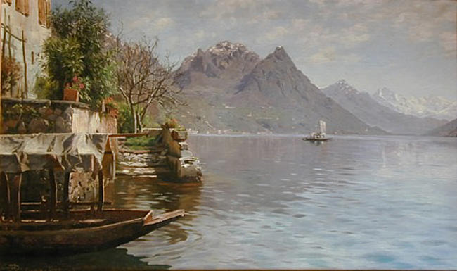 Gandria Lago Di Lugano, Oil by Peder Mork Monsted (1859-1941, Denmark)