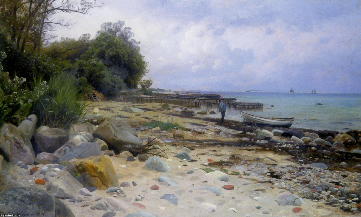 Looking Out to Sea, Oil by Peder Mork Monsted (1859-1941, Denmark)
