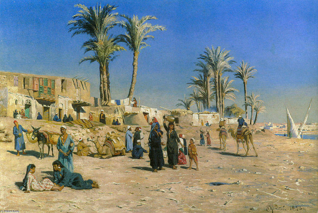 On the Outskirts of Cairo by Peder Mork Monsted (1859-1941, Denmark) | Paintings Reproductions Peder Mork Monsted | ArtsDot.com