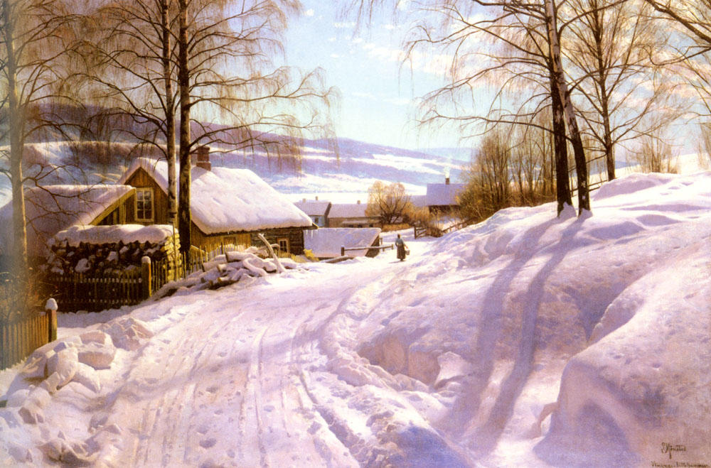 On The Snowy Path by Peder Mork Monsted (1859-1941, Denmark) | Painting Copy | ArtsDot.com