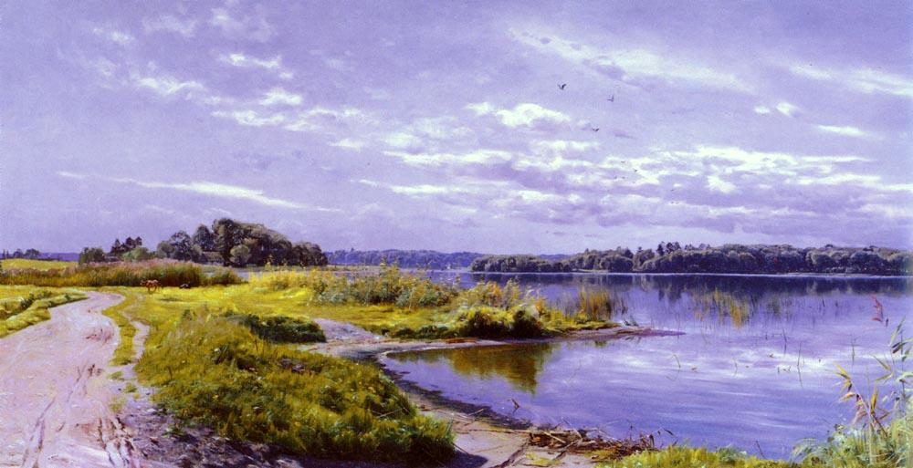 River Landscape, Oil by Peder Mork Monsted (1859-1941, Denmark)