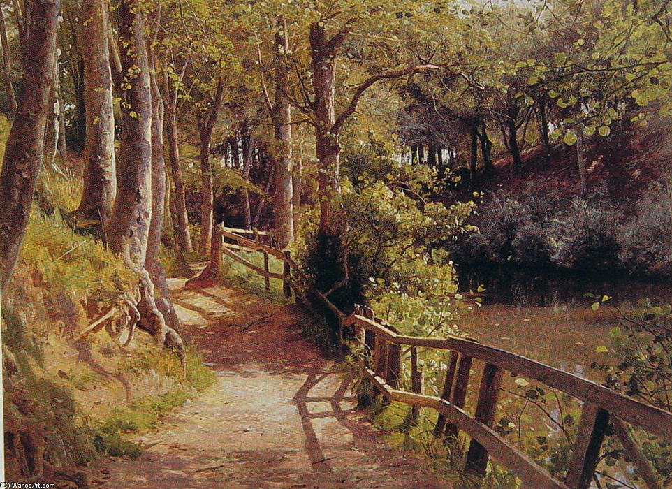 The forest path, Oil by Peder Mork Monsted (1859-1941, Denmark)