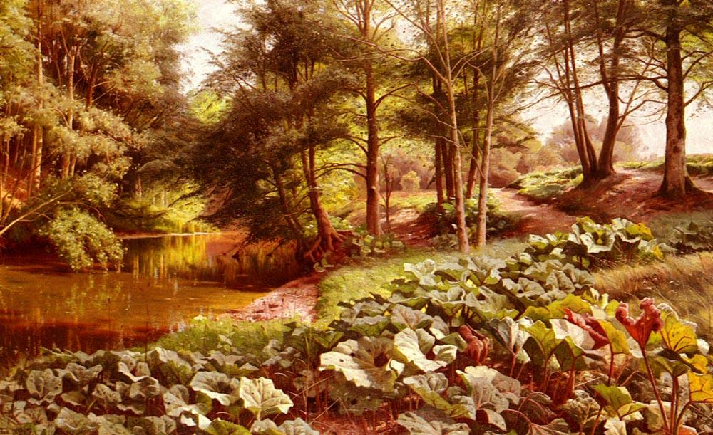 The Path On The River's Edge, Oil by Peder Mork Monsted (1859-1941, Denmark)