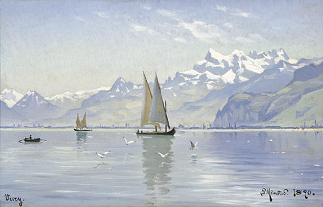 View of Lake, Vevey by Peder Mork Monsted (1859-1941, Denmark) | Museum Art Reproductions Peder Mork Monsted | ArtsDot.com