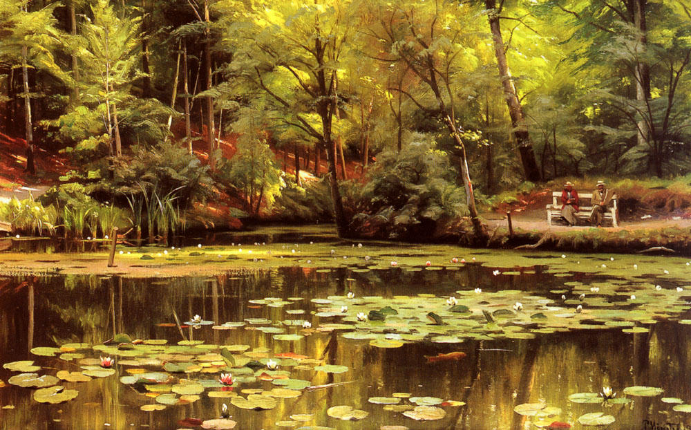 Waterlilies, Oil by Peder Mork Monsted (1859-1941, Denmark)