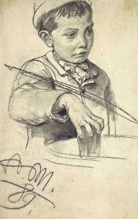 Boy with a glass of water, Drawing by Adolph Menzel (1815-1905, Poland)