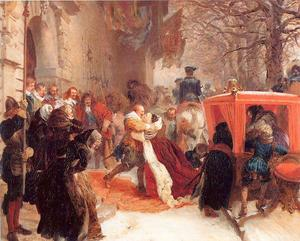 Adolph Menzel - Gustav Adolph Greets his Wife outside Hanau Castle in January 1632