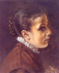 Adolph Menzel - Head of a Girl