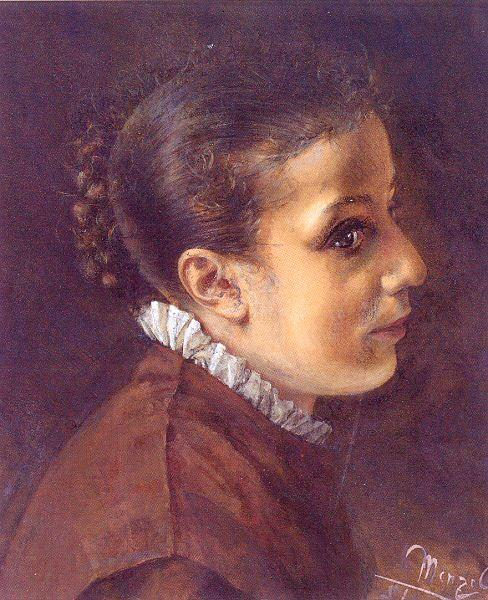Head of a Girl, Drawing by Adolph Menzel (1815-1905, Poland)