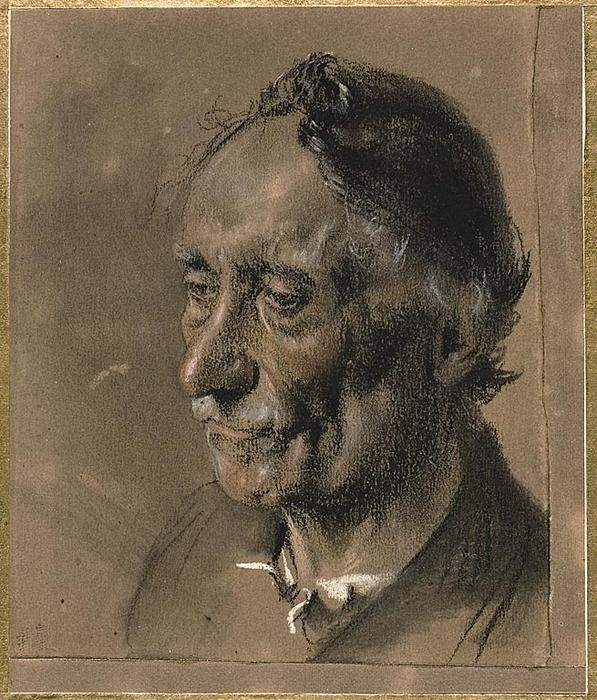 Head of an Old Man, Drawing by Adolph Menzel (1815-1905, Poland)