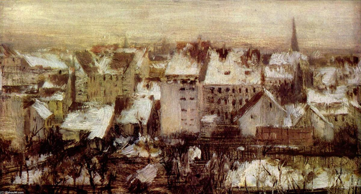 Houses in Berlin in Snow by Adolph Menzel (1815-1905, Poland)