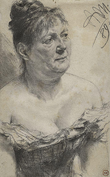 Portrait of a Woman, Drawing by Adolph Menzel (1815-1905, Poland)