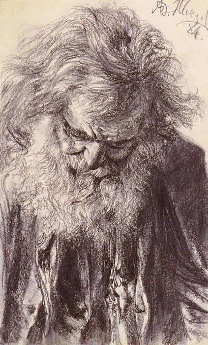 Portrait of an Old Man, Drawing by Adolph Menzel (1815-1905, Poland)
