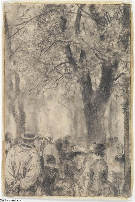 Promenade, Drawing by Adolph Menzel (1815-1905, Poland)