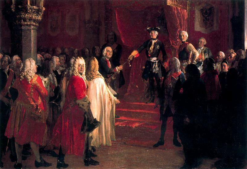 The Allegiance of the Silesian Diet before Frederick II in Breslau by Adolph Menzel (1815-1905, Poland) | Painting Copy | ArtsDot.com