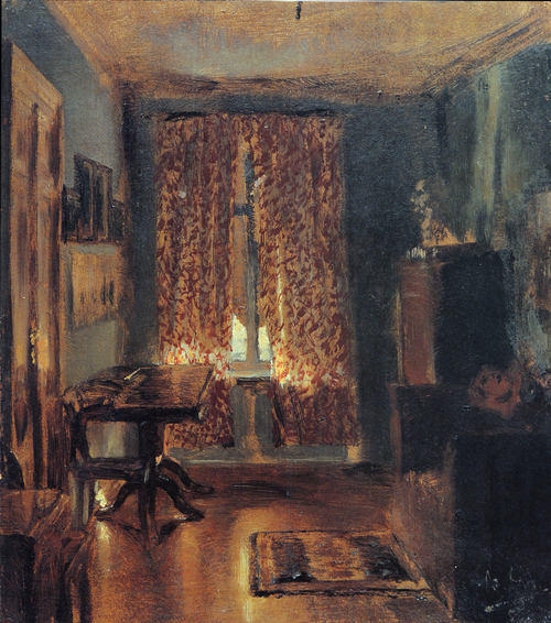 The Artist's Sitting Room in Ritterstrasse by Adolph Menzel  (buy Fine Art Art reproduction Adolph Menzel)