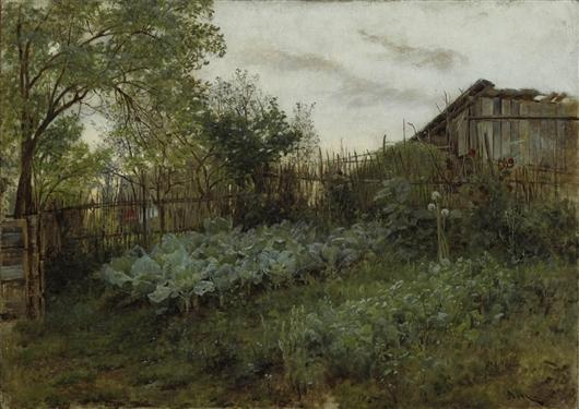 The Back Garden, Drawing by Adolph Menzel (1815-1905, Poland)