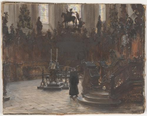 The Choirstalls in the Mainz Cathedral by Adolph Menzel (1815-1905, Poland) | ArtsDot.com
