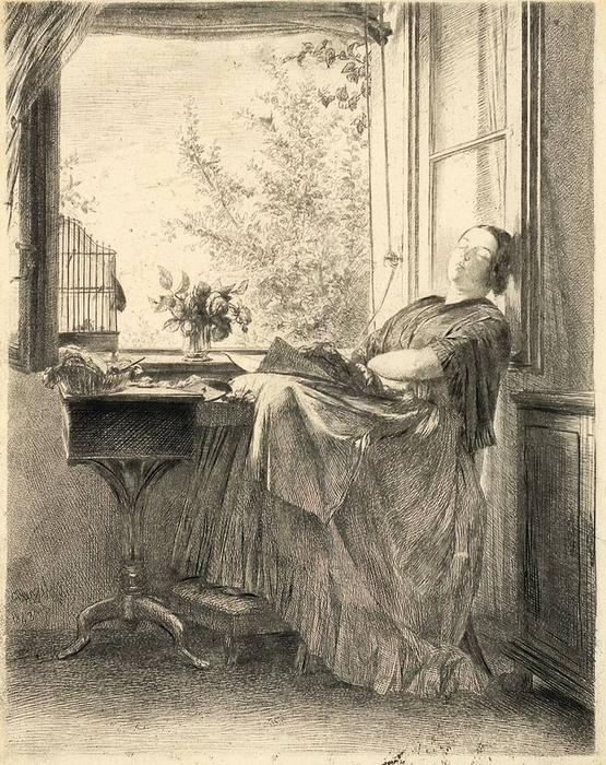The sleeping seamstress at the window, Drawing by Adolph Menzel (1815-1905, Poland)