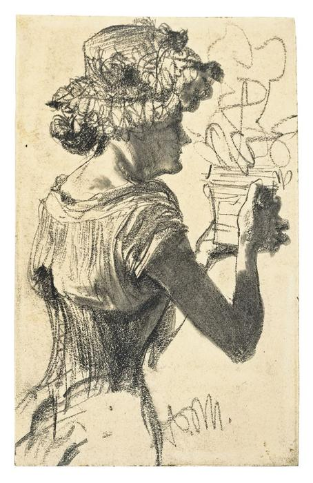 Woman with flower pot by Adolph Menzel (1815-1905, Poland) | Painting Copy | ArtsDot.com